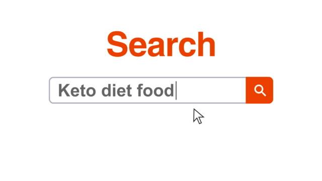 vídeos y material grabado en eventos de stock de navegador web o página web con un cuadro de búsqueda escribir keto dieta alimentos para la búsqueda en internet - cursor
