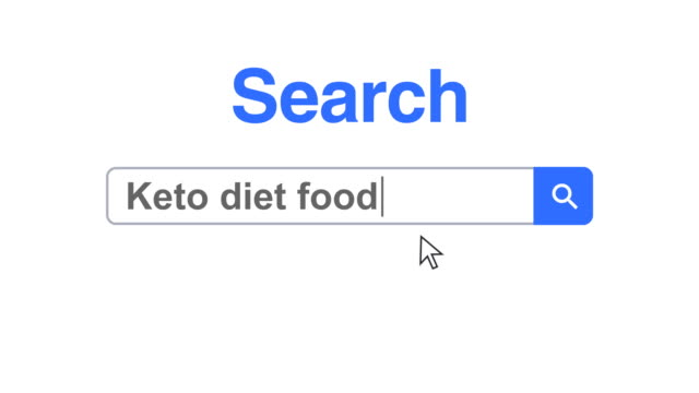 web browser or web page with a search box typing keto diet food for internet searching - obesity icon stock videos & royalty-free footage