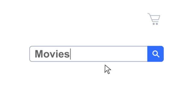 web browser or web page with a search box typing movies for internet searching - cursor stock videos & royalty-free footage