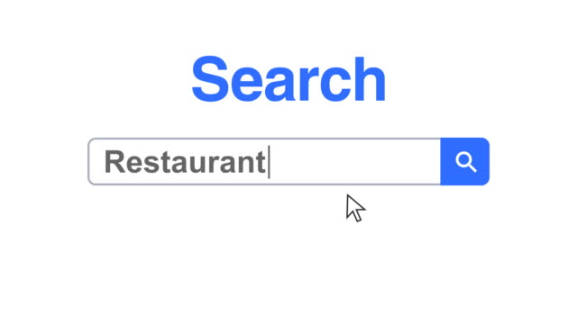web browser or web page with a search box typing restaurant for internet searching - search box stock videos & royalty-free footage