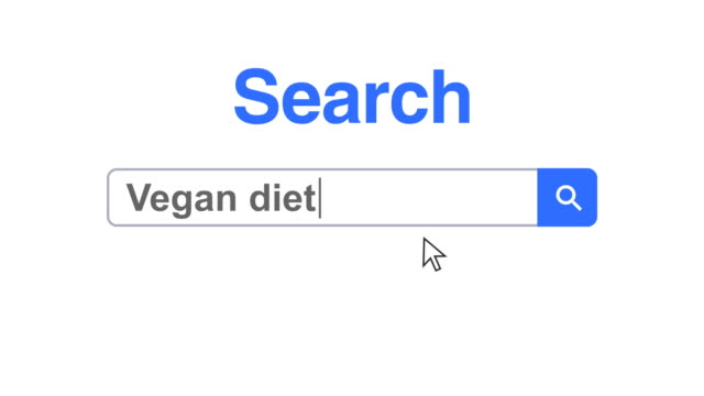 web browser or web page with a search box typing vegan diet for internet searching - search box stock videos & royalty-free footage