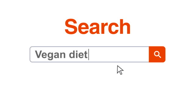 web browser or web page with a search box typing vegan diet for internet searching - ketogenic diet stock videos & royalty-free footage