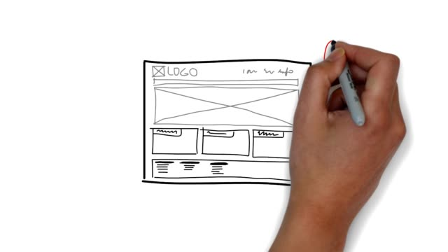 website sketch mockup - wire frame model stock videos & royalty-free footage