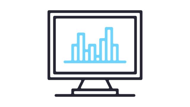 vídeos de stock, filmes e b-roll de web site estatísticas linha ícone animação com alfa - ícone de linha