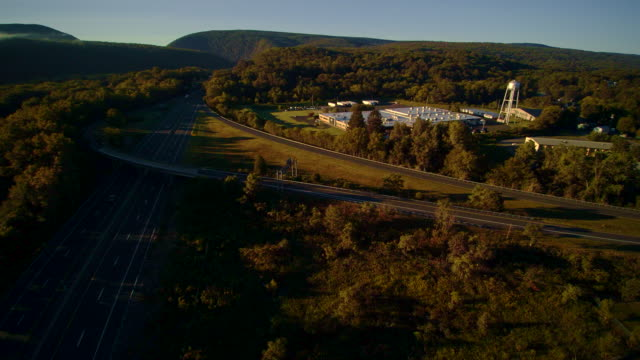 """Weclome to Pennsylvania"" visitor center near be to the I-80 Columbus highway near by Delaware Water Gap, at the border between New Jersey and Pennsylvania. Aerial drone video footage."