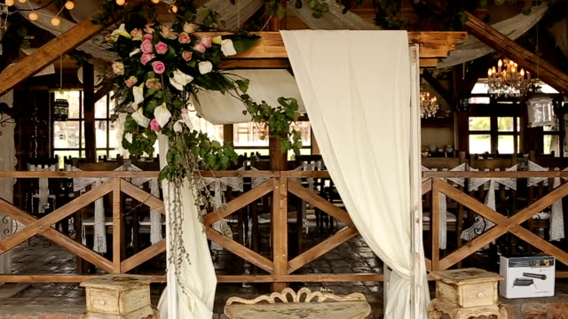 wedding altar indoors - rustic stock videos & royalty-free footage