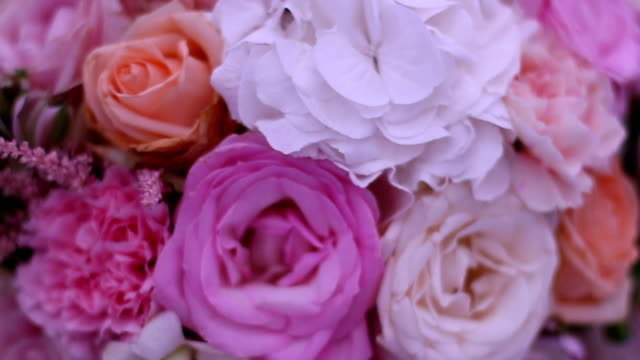 a wedding bouquet on a wedding reception table - bouquet stock videos & royalty-free footage