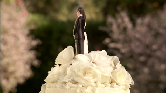 vidéos et rushes de cu, wedding cake with bride and groom figurines on top - mariage