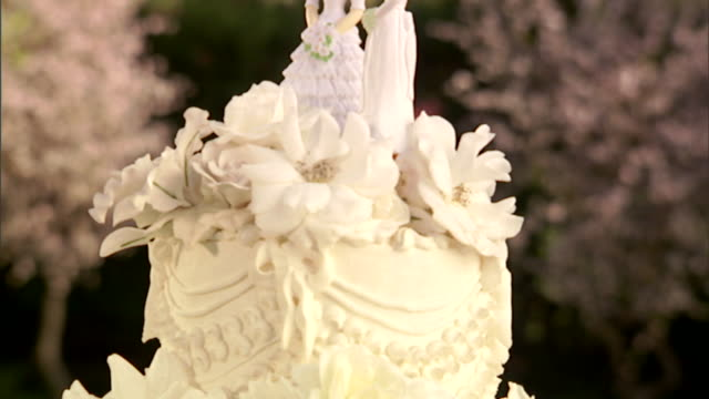 cu, tu, wedding cake with two bride figurines on top - homosexual stock videos & royalty-free footage