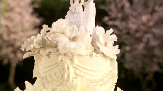 vídeos de stock e filmes b-roll de cu, tu, wedding cake with two bride figurines on top - casamento