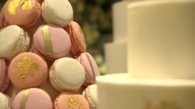 wedding cakes on display at wedding gallery - luxury stock videos & royalty-free footage