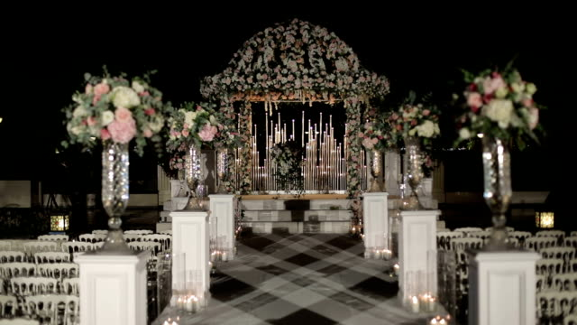 wedding ceremony aisle and arch decoration - stabilimento sportivo video stock e b–roll