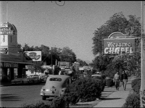 wedding chapels on south 5th street people walking sidewalks weddings marriage quick - 1952 stock videos and b-roll footage