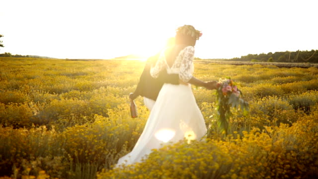 wedding day in a field - bride stock videos & royalty-free footage