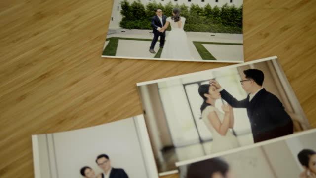 wedding day - album fotografico video stock e b–roll