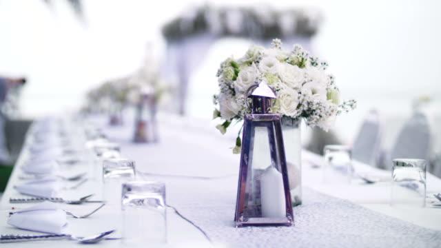 bröllop dekor - bordsduk bildbanksvideor och videomaterial från bakom kulisserna