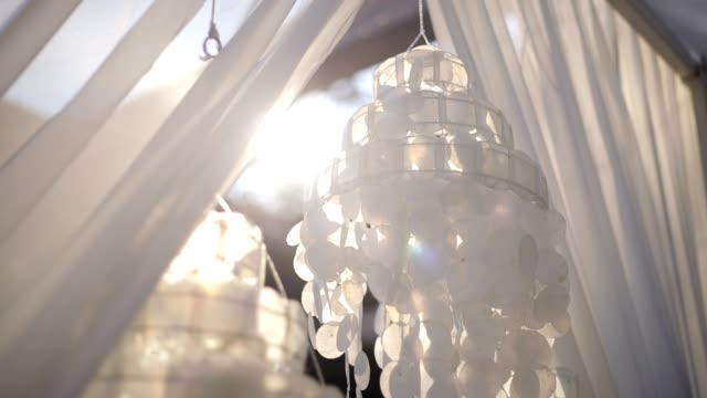 wedding decoration, beach wedding, flying tulle - tablecloth stock videos & royalty-free footage