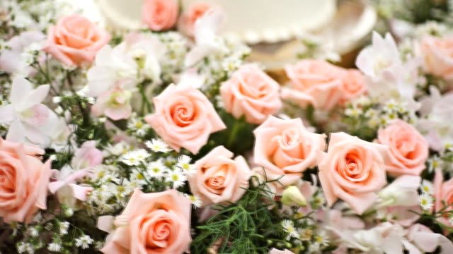 wedding decoration with bouquet of flowers on the table. - bunch of flowers stock videos and b-roll footage