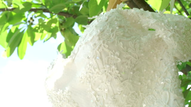 wedding dress in detail and hanging on a tree. - wedding dress stock videos and b-roll footage