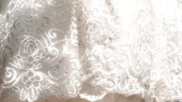 wedding dress in detail. - abito da sposa video stock e b–roll
