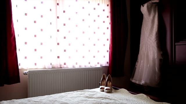 wedding dress - coathanger stock videos & royalty-free footage