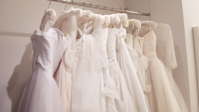 wedding dresses on racks - wedding dress stock videos & royalty-free footage