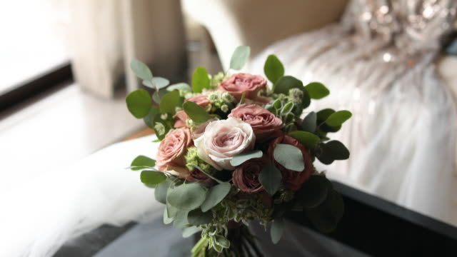 wedding flowers bouquet for the bride. - bouquet stock videos & royalty-free footage