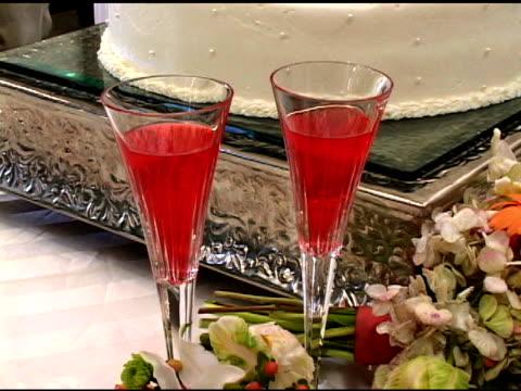 wedding glasses and flowers - ntsc dv - trillium stock videos & royalty-free footage