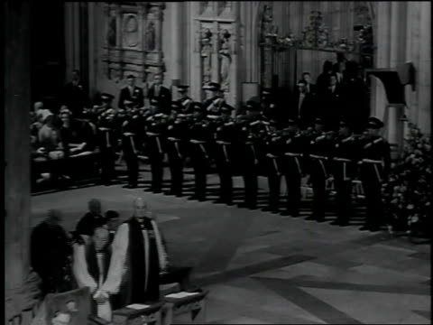 Wedding guests arrive at the Cathedral of York including Douglas Fairbanks Jr Noel Coward Queen Elizabeth II Prince Philip Prince Charles Queen...