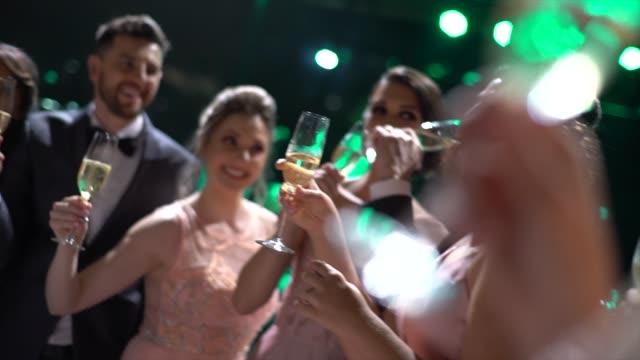 vídeos de stock, filmes e b-roll de convidados do casamento que fazem um brinde - brinde