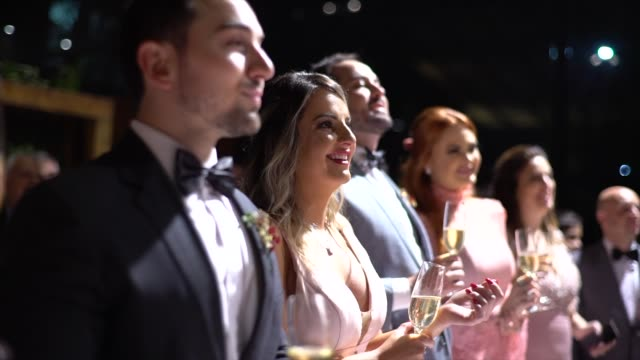 wedding guests smiling and holding a drink - formal stock videos & royalty-free footage
