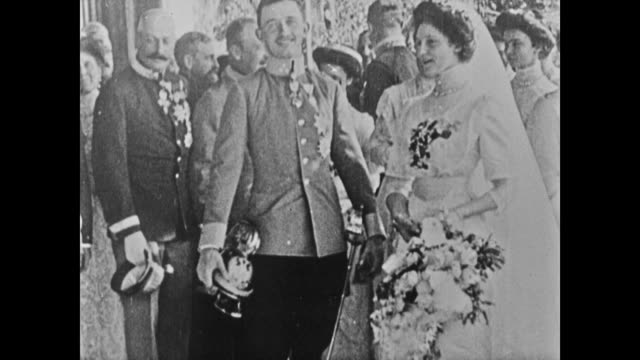 wedding of emperor/king karl i of austria to zita emperor franz joseph i w/ wife princess sofie of bavaria franz holding flowers wife talking to him... - imperium bildbanksvideor och videomaterial från bakom kulisserna