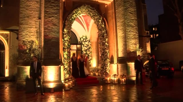 wedding of frank lampard and christine bleakley: arrivals; bridesmaids and bleakley outside entrance to church - christine bleakley stock videos & royalty-free footage