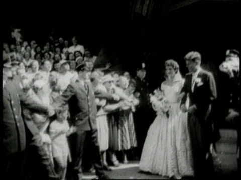 stockvideo's en b-roll-footage met montage wedding of jacqueline kennedy onassis and john f kennedy / newport rhode island united states - jacqueline kennedy