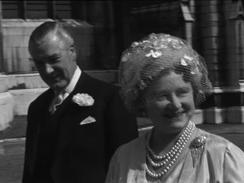 wedding of polly eccles and captain robin carnegie; england: westminster: st margaret's: ext cms sir david eccles and bride polly eccles arrive bv... - itv evening bulletin stock videos & royalty-free footage