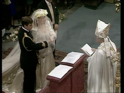 wedding of prince andrew and sarah ferguson: service; england: london: westminster abbey: int sara ferguson & her father major ronald ferguson inside... - wedding vows stock videos & royalty-free footage