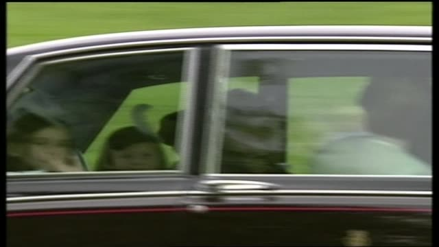 Wedding of Prince Edward and Sophie RhysJones ITV Special PAB Berkshire Windsor EXT Car along containing bridesmaids and page boys thru Park