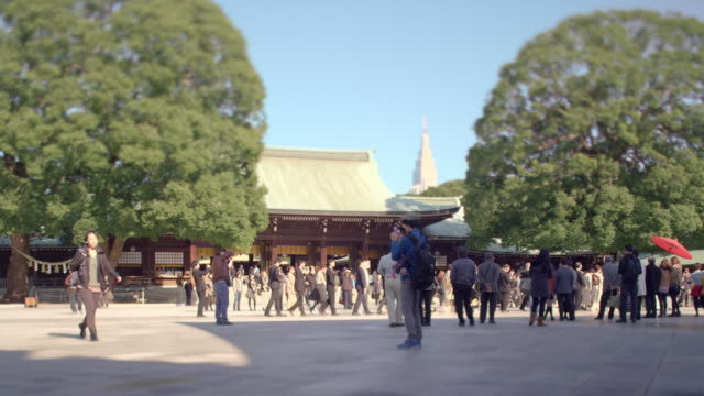 wedding procession at meiji shrine. - shrine stock videos and b-roll footage