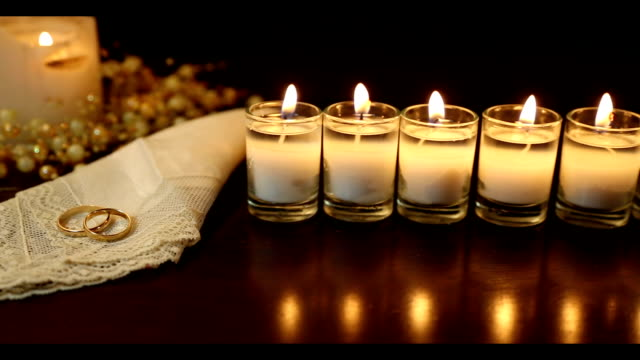wedding rings and candles - lace textile stock videos & royalty-free footage
