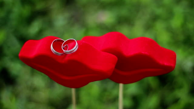 wedding rings - lipstick kiss stock videos and b-roll footage