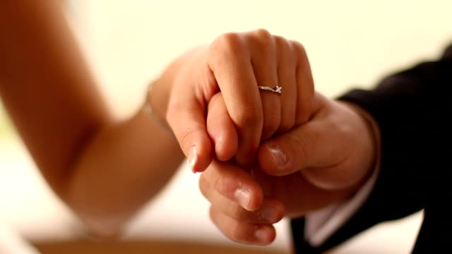 wedding rings. wedding couple - engagement ring stock videos and b-roll footage