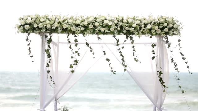wedding set up at the beach. - wedding reception stock videos and b-roll footage