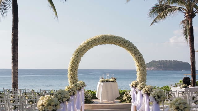 Wedding set up with sea background