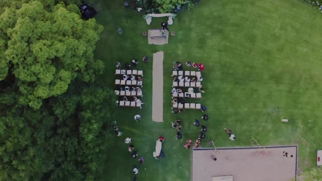 wedding setting from an aerial top point of view - wedding stock videos & royalty-free footage