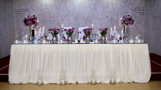 Wedding table for bride and groom