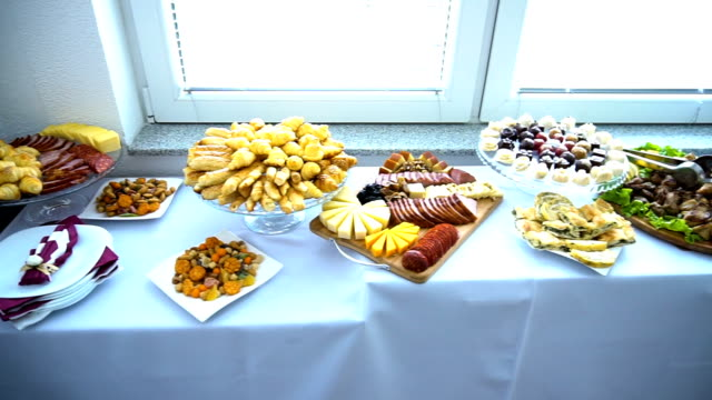wedding table with appetizers - tray stock videos and b-roll footage