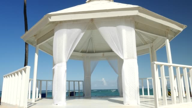 wedding tent on the beach - tent stock videos & royalty-free footage