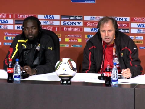 wednesday with both teams needing crucial points to move through to the second round of the world cup. images and soundbites of the ghana press... - fußballweltmeisterschaft 2010 stock-videos und b-roll-filmmaterial