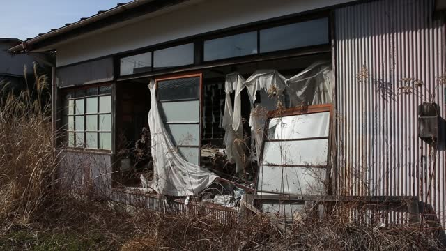 weeds grow around an abandoned house on march 09, 2021 in futaba, japan. in ceremonies that are expected to be scaled back because of the covid-19... - abandoned stock videos & royalty-free footage