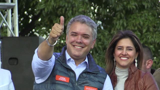 A week before the presidential election in Colombia rightwing candidate Ivan Duque supported by former President and Senator Alvaro Uribe leads in...